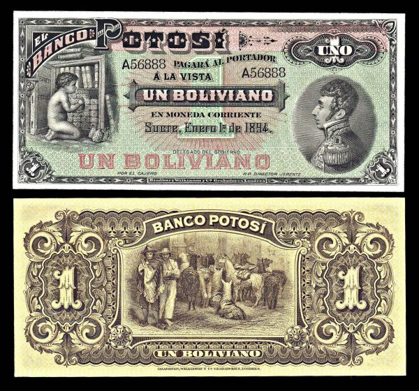 BOLIVIA, Bank Potosi, 1 boliviano, 1.1.1894
