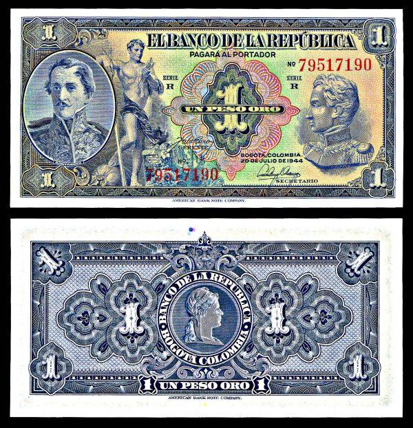 COLOMBIA, 1 peso, 20.7.1944