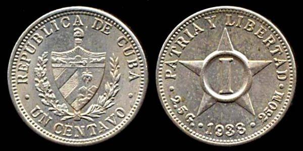CUBA, 1 centavo, 1938