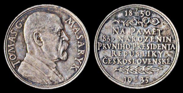 CZECHOSLOVAKIA, silver medal, 1935, President Mazaryk's 85th birthday