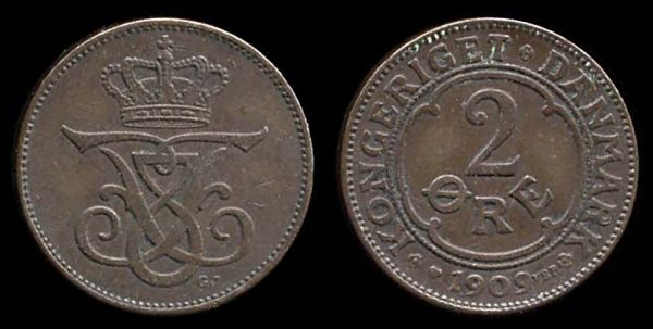 DENMARK, 2 ore, 1909
