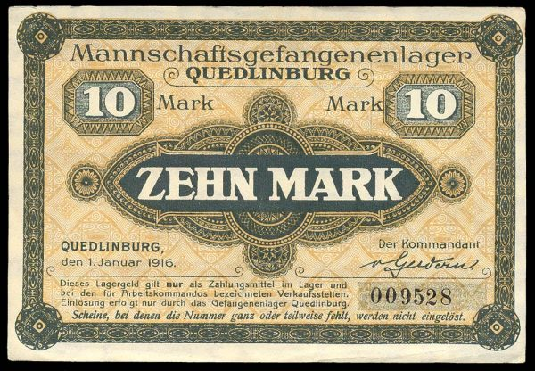 GERMANY, QUEDLINBURG POW camp, 10 mark, 1.1.1916