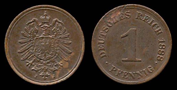 GERMANY, 1 pfennig, 1888 J