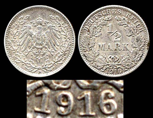 GERMANY, 1/2 mark, 1916 D