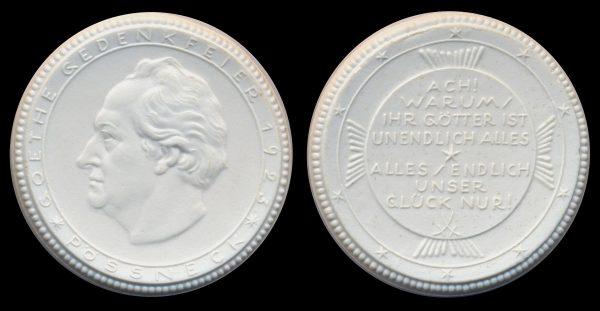 GERMANY, PÖSSNECK, white porcelain Goethe medal, 1923