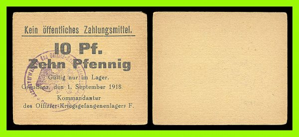 GERMANY, GRAUDENZ, Prisoner of War camp, 10 pfennig, 1.6.1918