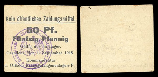 GERMANY, GRAUDENZ, Prisoner of War camp, 50 pfennig, 1.6.1918