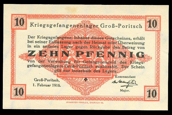 GERMANY, GROSS-PORITSCH POW camp, 10 pfennig, 1.2.1916