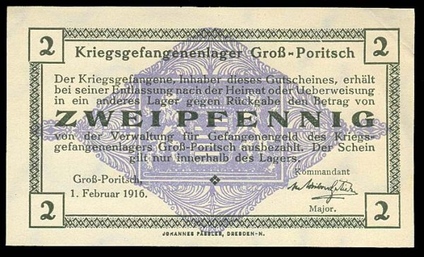 GERMANY, GROSS-PORITSCH POW camp, 2 pfennig, 1.2.1916