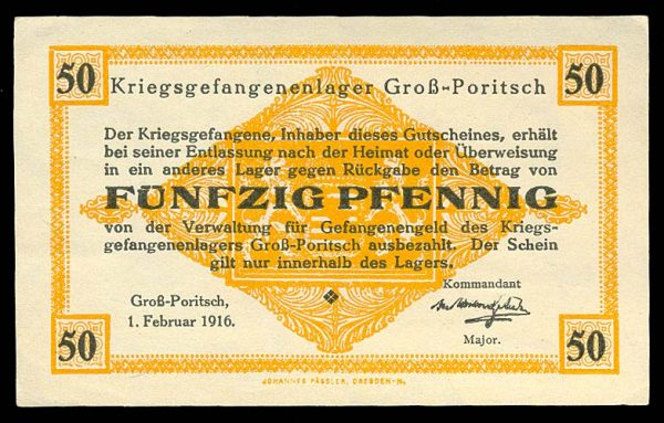 GERMANY, GROSS-PORITSCH POW camp, 50 pfennig, 1.2.1916