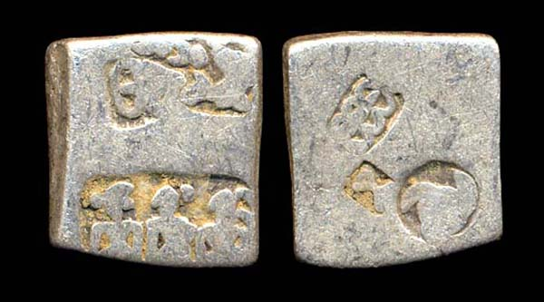 MAURYA-SUNGA, punchmarked karshapana, 3 figures type