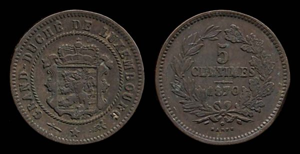 LUXEMBOURG, 5 centimes, 1870