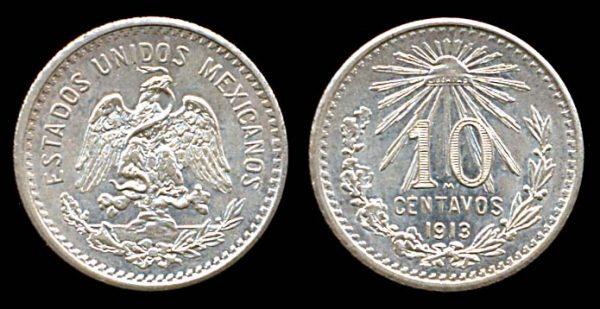 MEXICO, 10 centavos, 1913