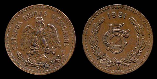 MEXICO, 5 centavos, 1921