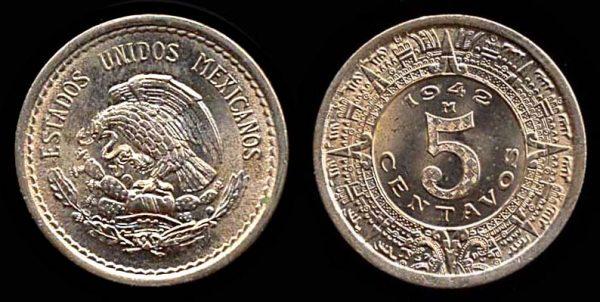 MEXICO, 5 centavos, 1942