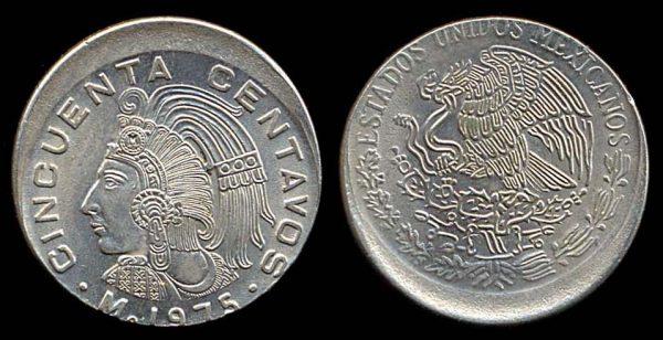 MEXICO, 50 centavos, 1975 ERROR