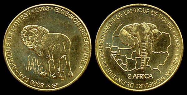 NIGER, 3000 cfa francs, 2003
