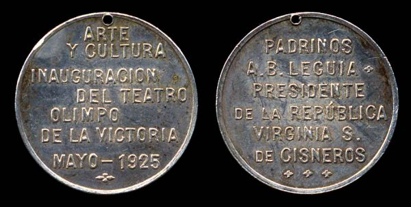 PERU, silver, medallet, 1925, opening of Olympic Theater