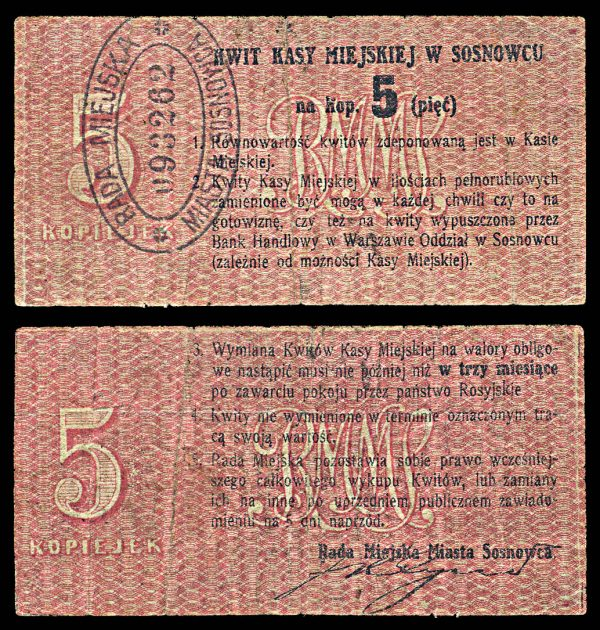 POLAND, SOSNOWIEC, 5 kopeki, (c. 1915)