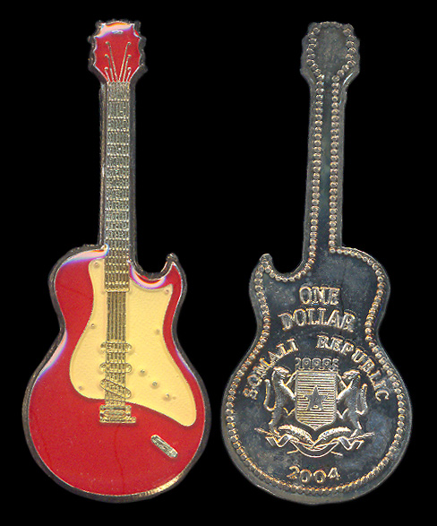 Guitar shaped fantasy coin