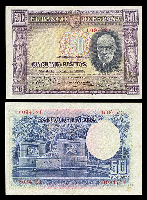 SPAIN, 50 pesetas, 22.7.1935