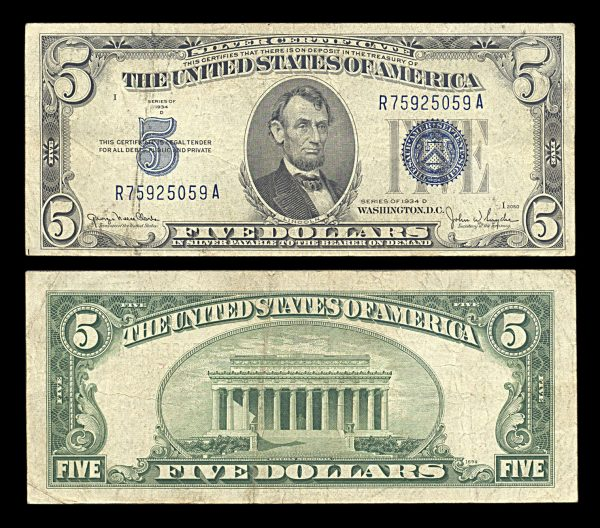 USA, Silver Certificate, 5 dollars, 1934-D