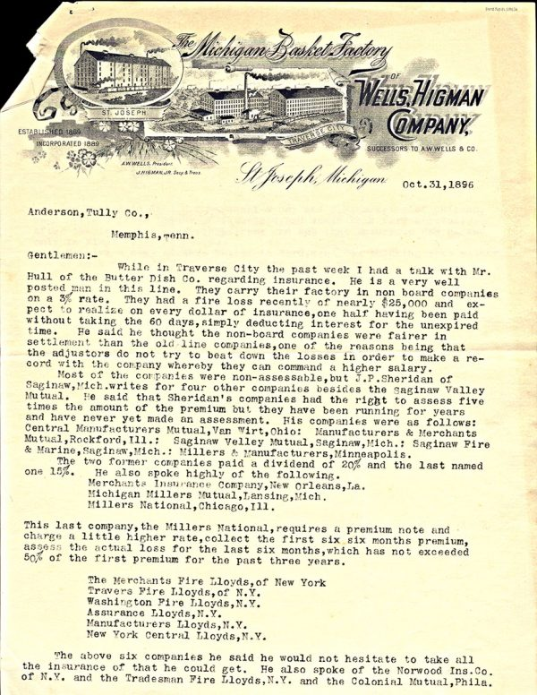 USA, business letter, 1896