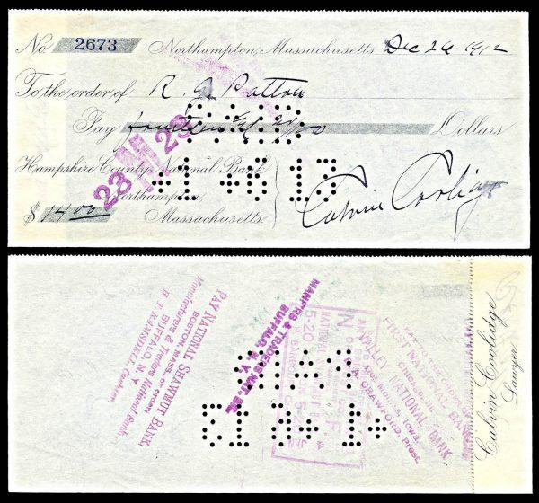 Calvin Coolidge autograph check, 1912