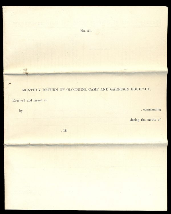 USA, Civil War, quartermaster document No. 51, 18__, Union Army