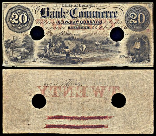 USA, GEORGIA, Savannah, Bank of Commerce, 20 dollars, 1.10.1856
