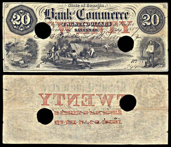 USA, GEORGIA, Savannah, Bank of Commerce, 20 dollars, 4.5.1857