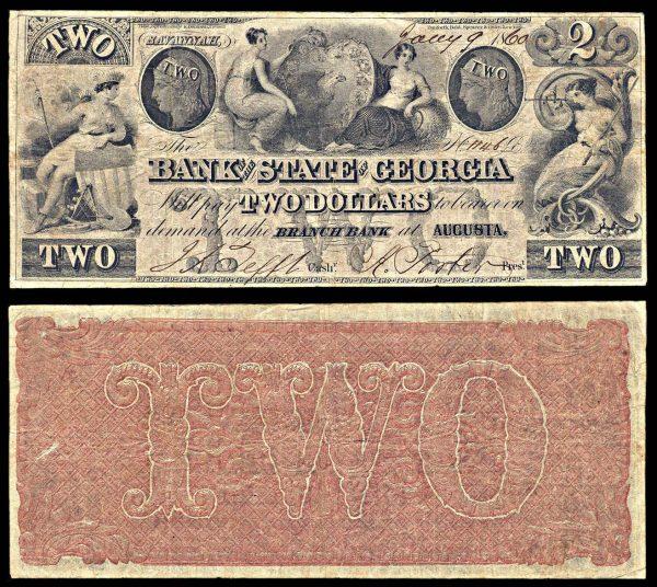 USA, GEORGIA, Augusta, Bank of the State of Georgia, 2 dollars, 9.1.1860