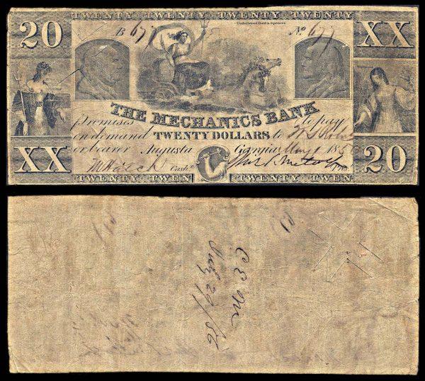 USA, GEORGIA, Augusta, Mechanics Bank, 20 dollars, 1.5.1850