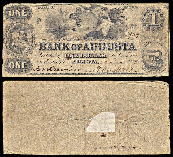 USA, GEORGIA, Augusta, Bank of Augusta, 1 dollar, 8.12.1854