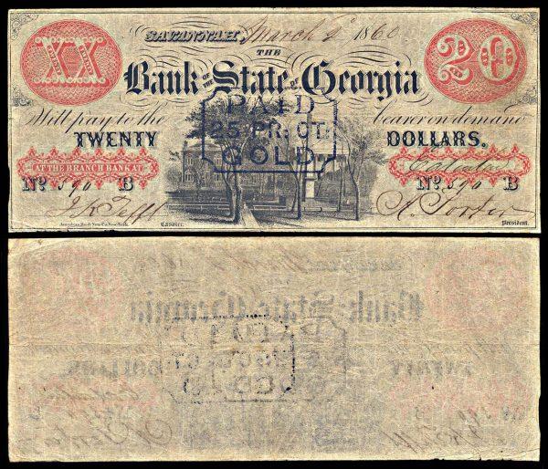 USA, GEORGIA, Eatonton, Bank of the State of Georgia, 20 dollars, 2/.3.1860