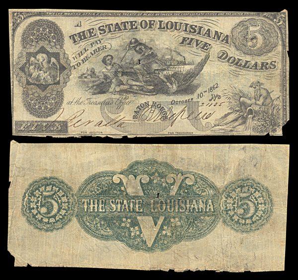 USA, LOUSIANA, 5 dollars, 10.10.1862