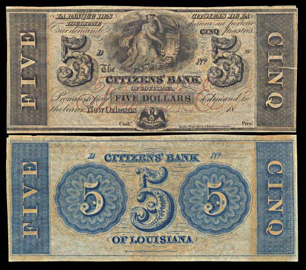 USA, LOUSIANA, New Orleans, Citizens' Bank of Louisiana, 5 dollars, (1850s-60s)