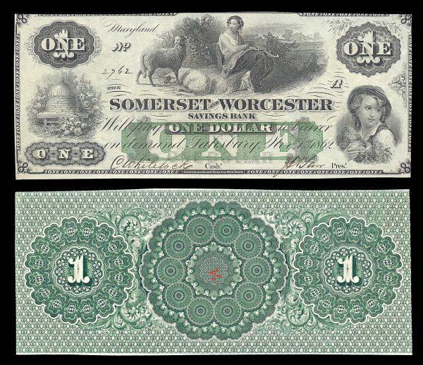 USA, MARYLAND, Salisbury, Somerset & Worcester Savings Bank, 1 dollar, 1.11.1862
