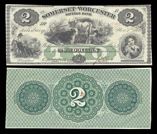 USA, MARYLAND, Salisbury, Somerset & Worcester Savings Bank, 2 dollars, 1.11.1862