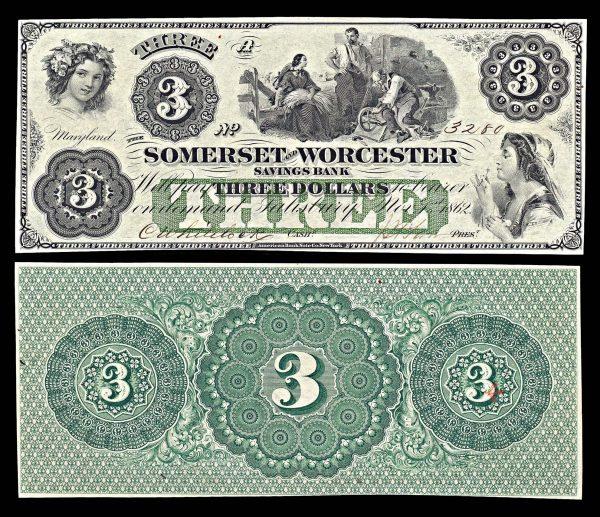 USA, MARYLAND, Salisbury, Somerset & Worcester Savings Bank, 3 dollars, 1.11.1862