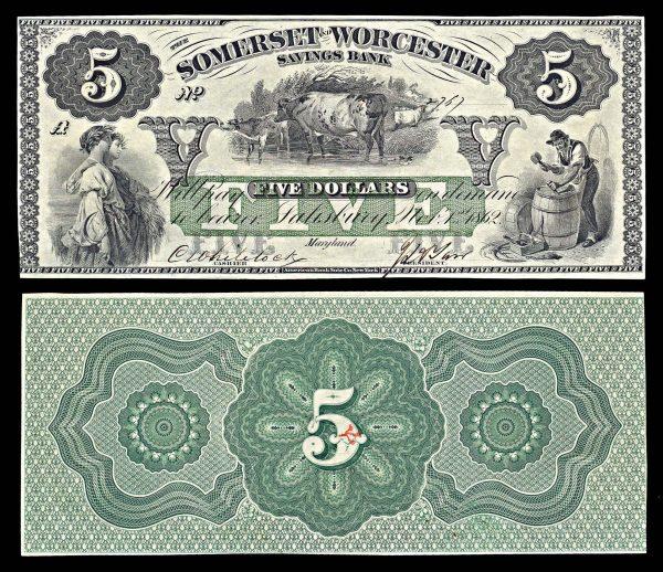 USA, MARYLAND, Salisbury, Somerset & Worcester Savings Bank, 5 dollars, 1.11.1862