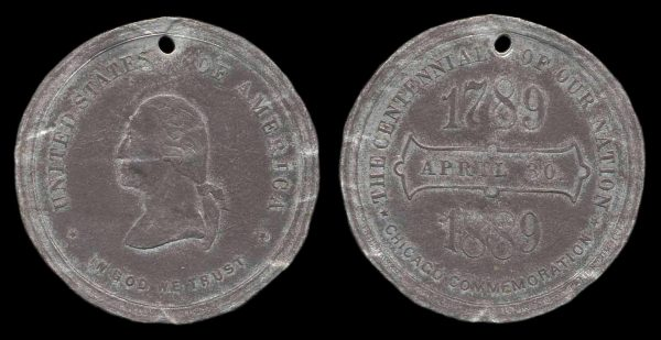 USA, ILLINOIS, American Centennial medal, 1889, pewter