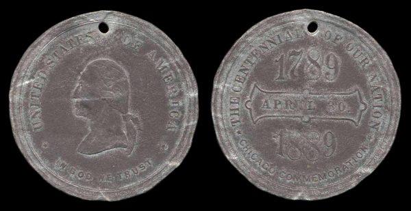 USA, ILLINOIS, American Centennial medal, 1889, pewter