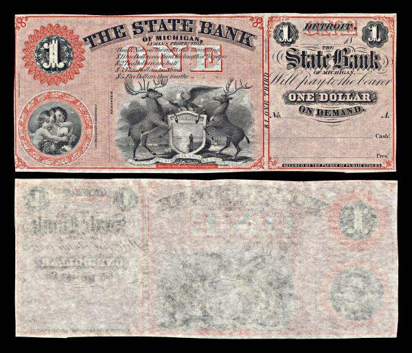 USA, MICHIGAN, Detroit, State Bank of Michigan, 1 dollar, (1859-60s)