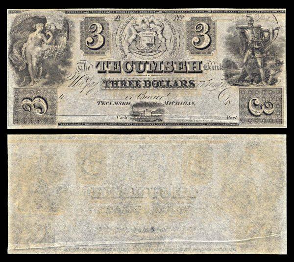 USA, MICHIGAN, Tecumseh, Tecumseh Bank, 3 dollars, (1838)
