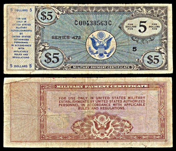 USA, Military Payment Certificate, 5 dollars, series 472
