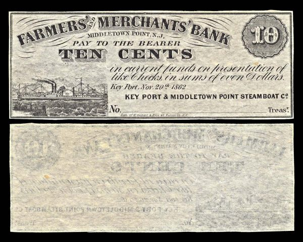 USA, NEW JERSEY, Middletown Point, Farmers' and Merchants' Bank, 10 cents, 20.11.1862