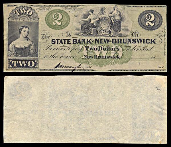 USA, NEW JERSEY, State Bank at New Brunswick, 2 dollars, 18__ (1860s)