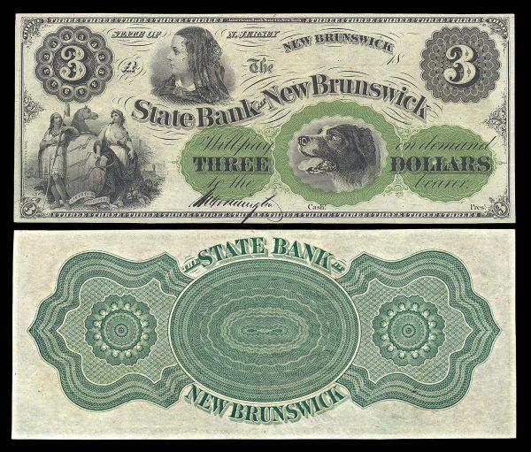 USA, NEW JERSEY, State Bank at New Brunswick, 3 dollars, 18__ (1860s)