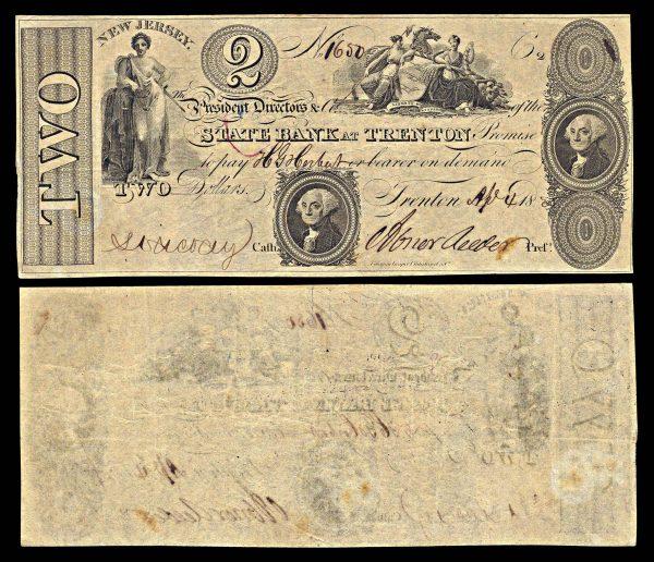 USA, NEW JERSEY, State Bank at Trenton, 2 dollars, 4.4.1825